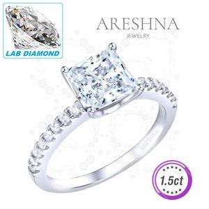 1.5ct Lab Diamond Princess Cut Engagement Ring